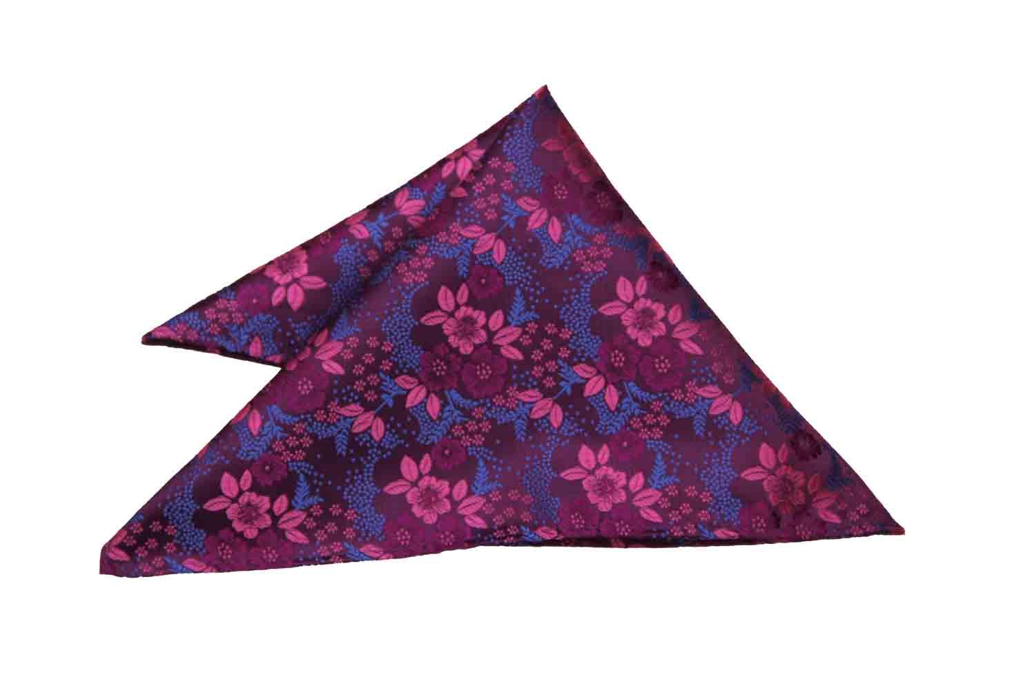 Gascoigne Pocket Square Pink Purple Blue Floral Men's