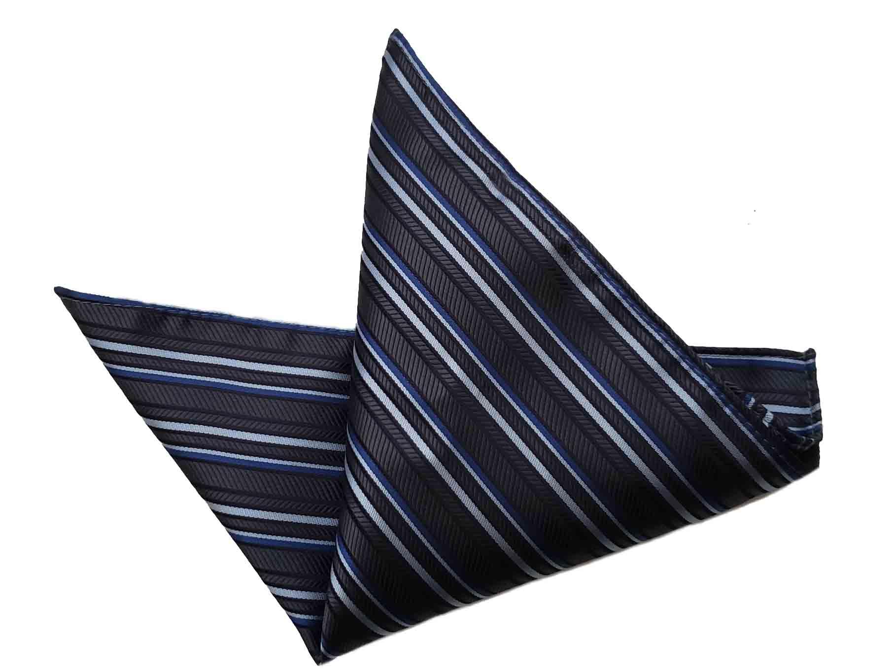 Gascoigne Silk Pocket Square Brown Gray Blue Striped Men's