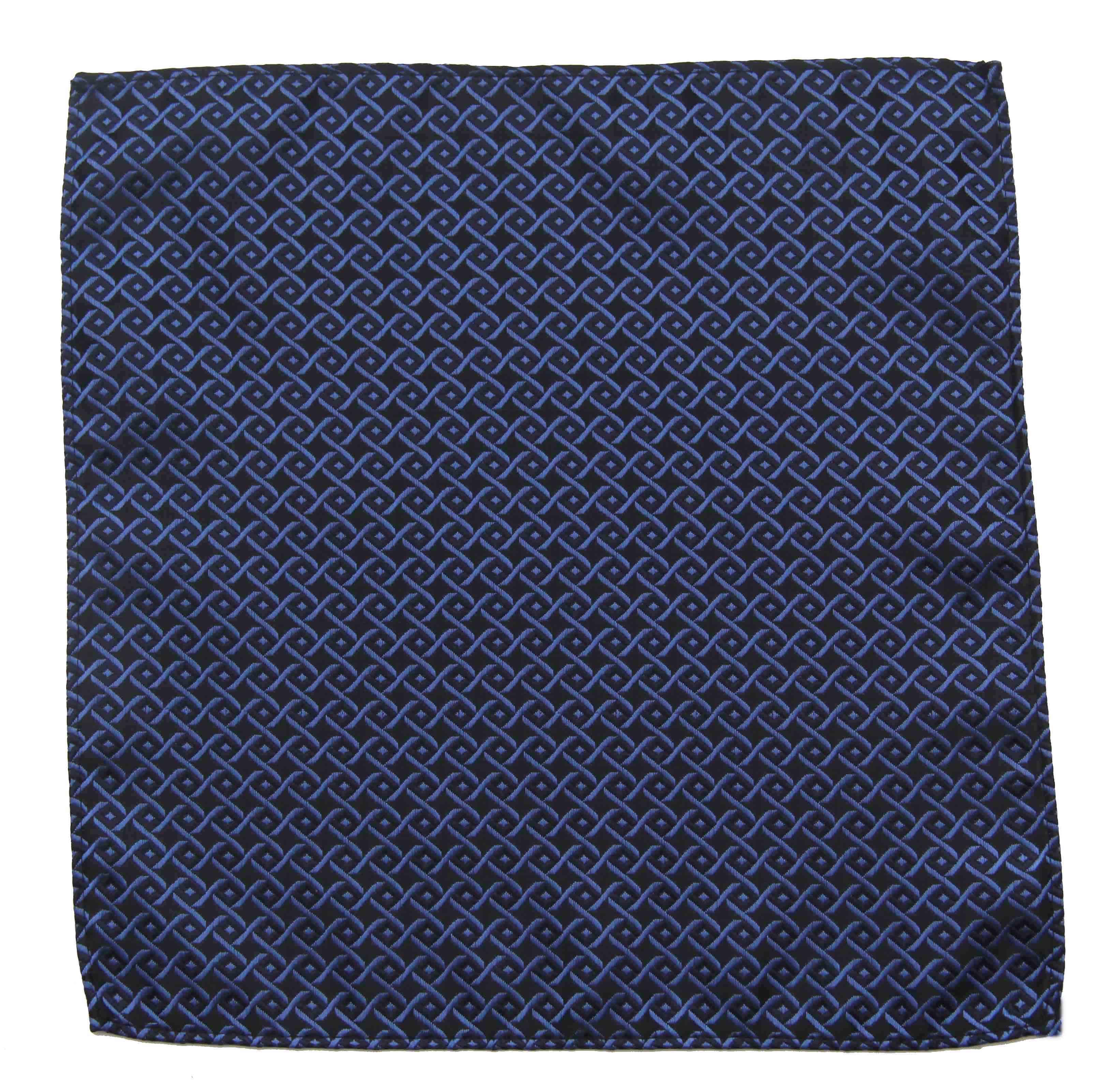 Gascoigne Silk Pocket Square Blue Black Interlocking Geometric Pattern Men's