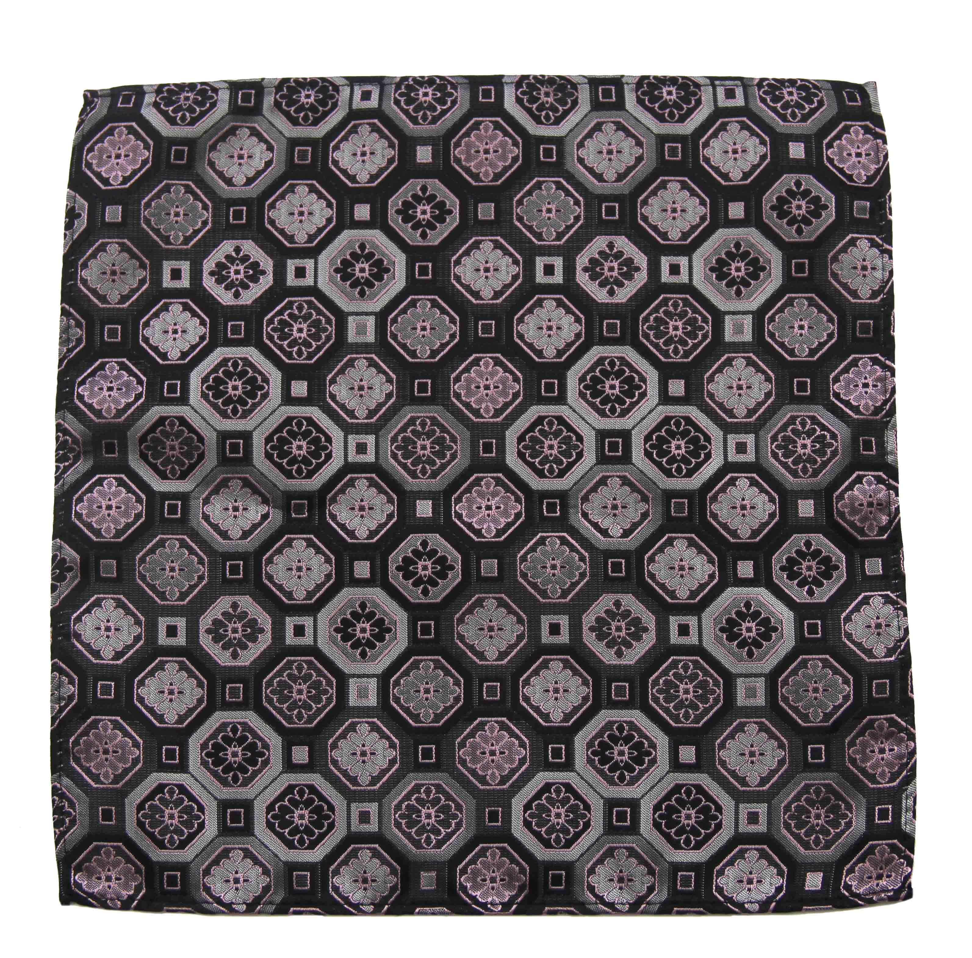 Gascoigne Pocket Square Gray Pink Geometric and Floral Pattern Men's