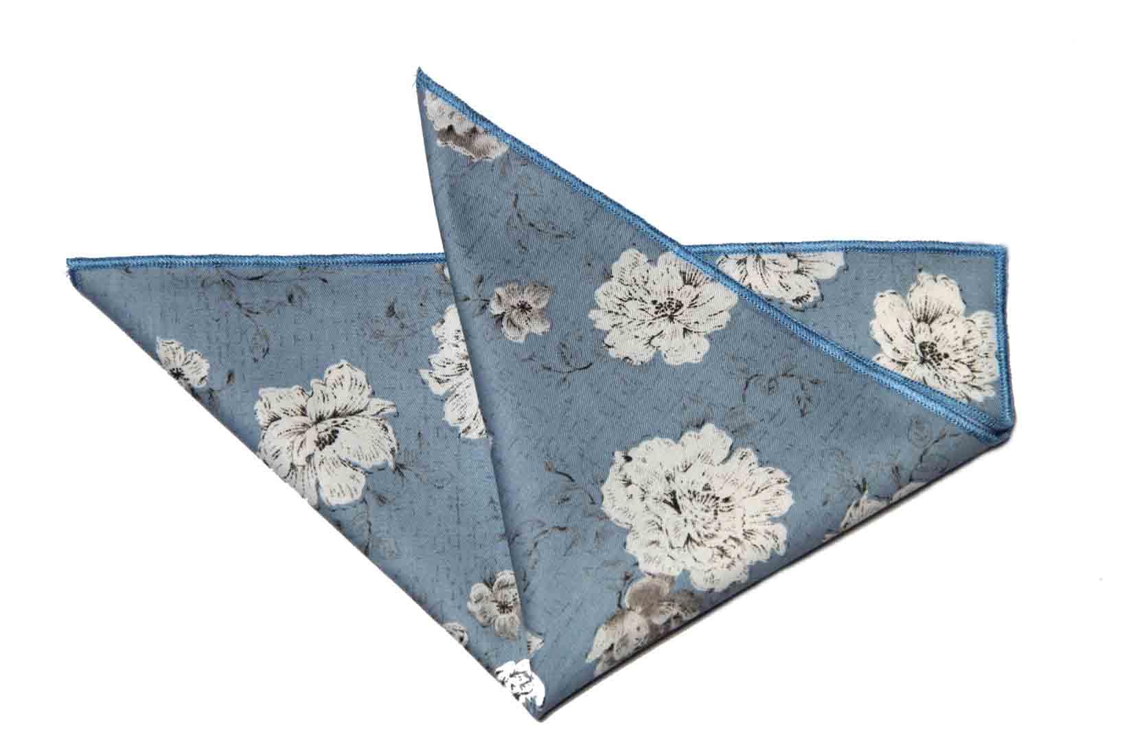 Gascoigne Pocket Square Cotton Light Blue White Gray Brown Floral Men's