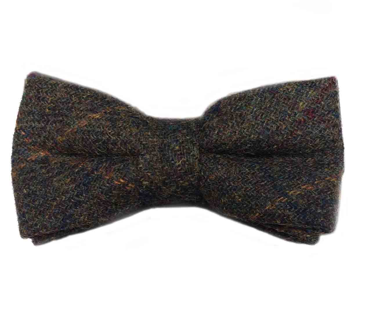 Gascoigne Bow Tie Wool Tweed Olive Green Gold Burgundy Pre-Tied Men's