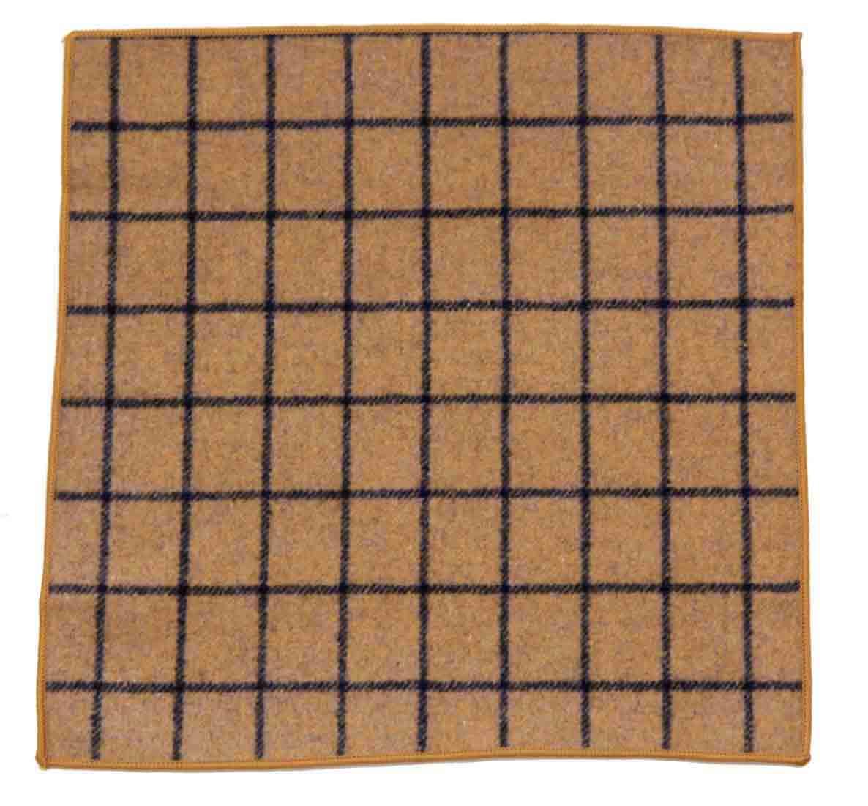 Gascoigne Pocket Square Wool and Cotton Brown Gray Window Pane Pattern Men's
