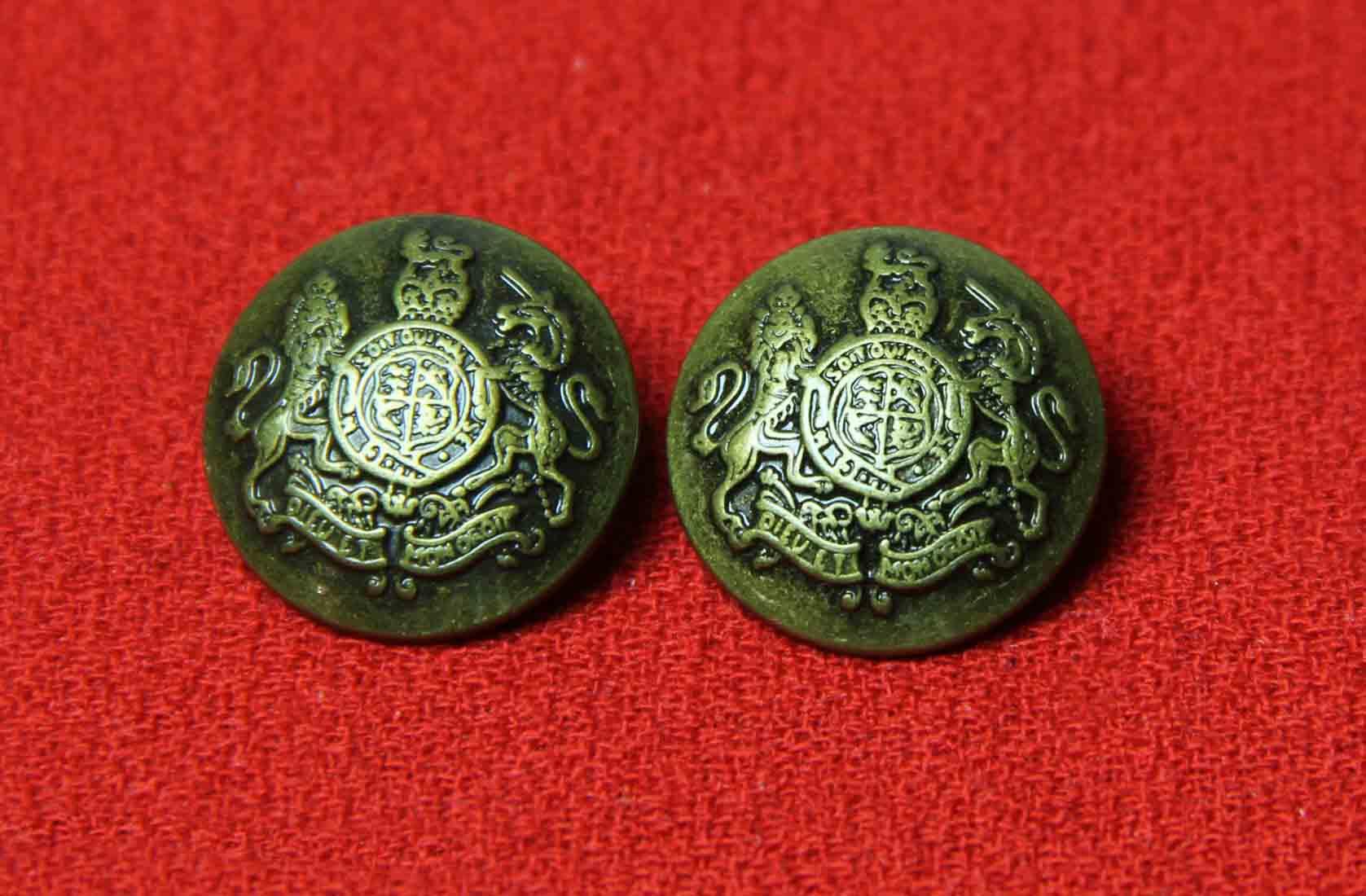 Two Jos A Bank Dome Blazer Buttons Antique Gold Brown Lion Unicorn Metal Men's