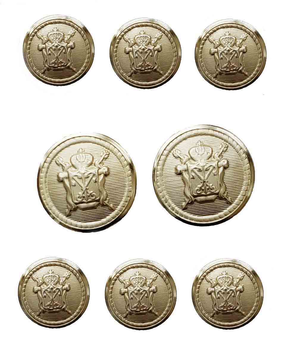Vintage Jos A Bank Blazer Buttons Set Gold Brass Crown Swords Shield Men's
