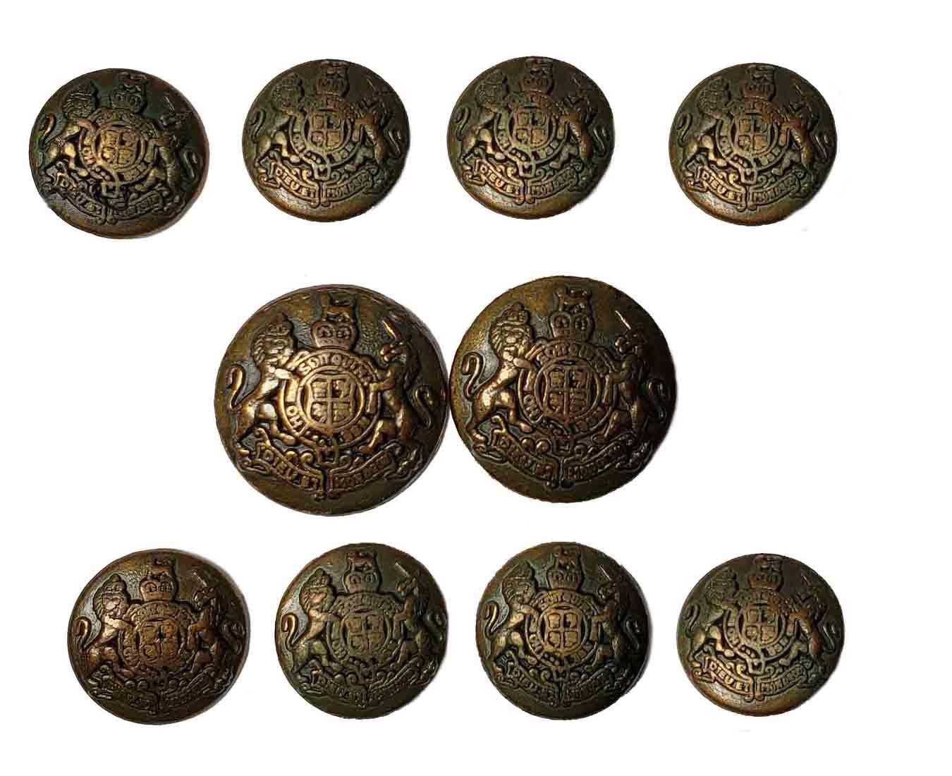Jos A Bank Dome Blazer Buttons Set Antique Gold Brown Lion Unicorn Metal Men's