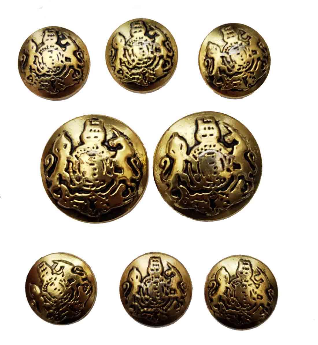 Vintage Jos A Bank Dome Blazer Buttons Set Gold Gray Brass Shank Lion Unicorn Men's