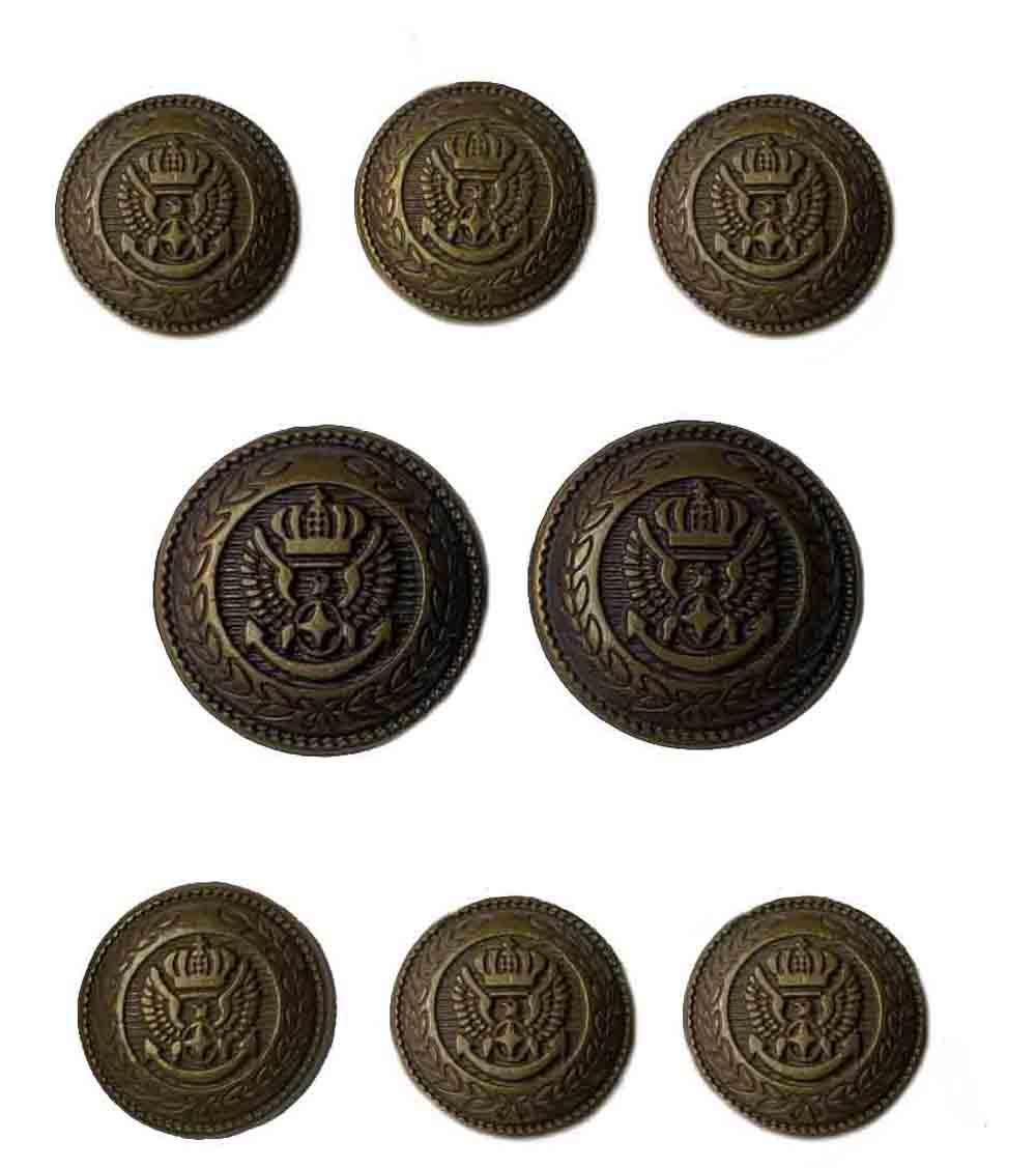 Vintage Jos A Bank Blazer Buttons Set Brown Gold Brass Eagle Anchor Shield Men's