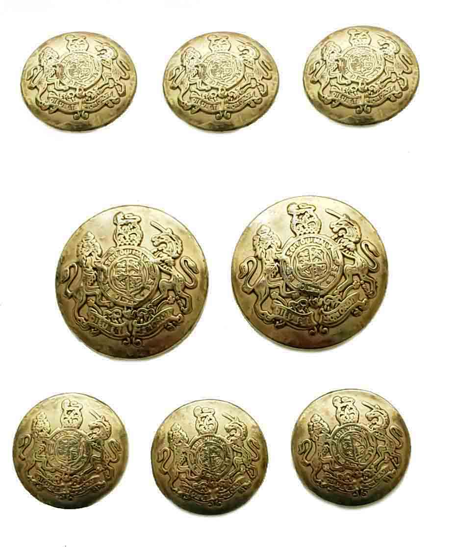 Vintage Jos A Bank Dome Blazer Buttons Set Gold Brass Lion Unicorn Shank Men's
