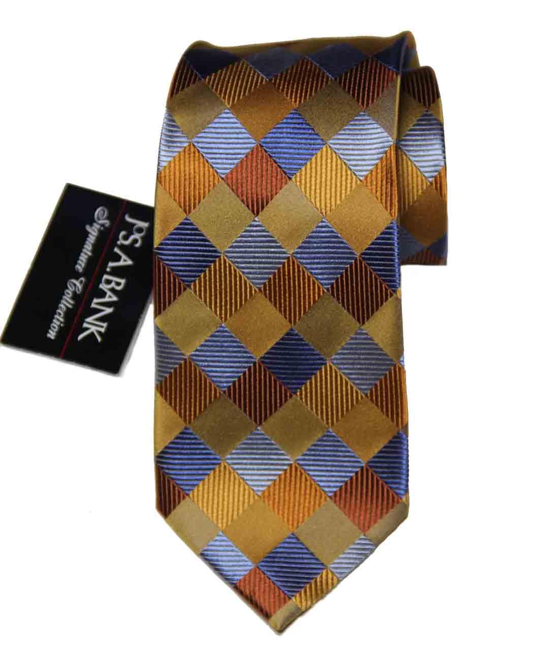 Jos A Bank Tie Silk Gold Blue Brown Gray Men's