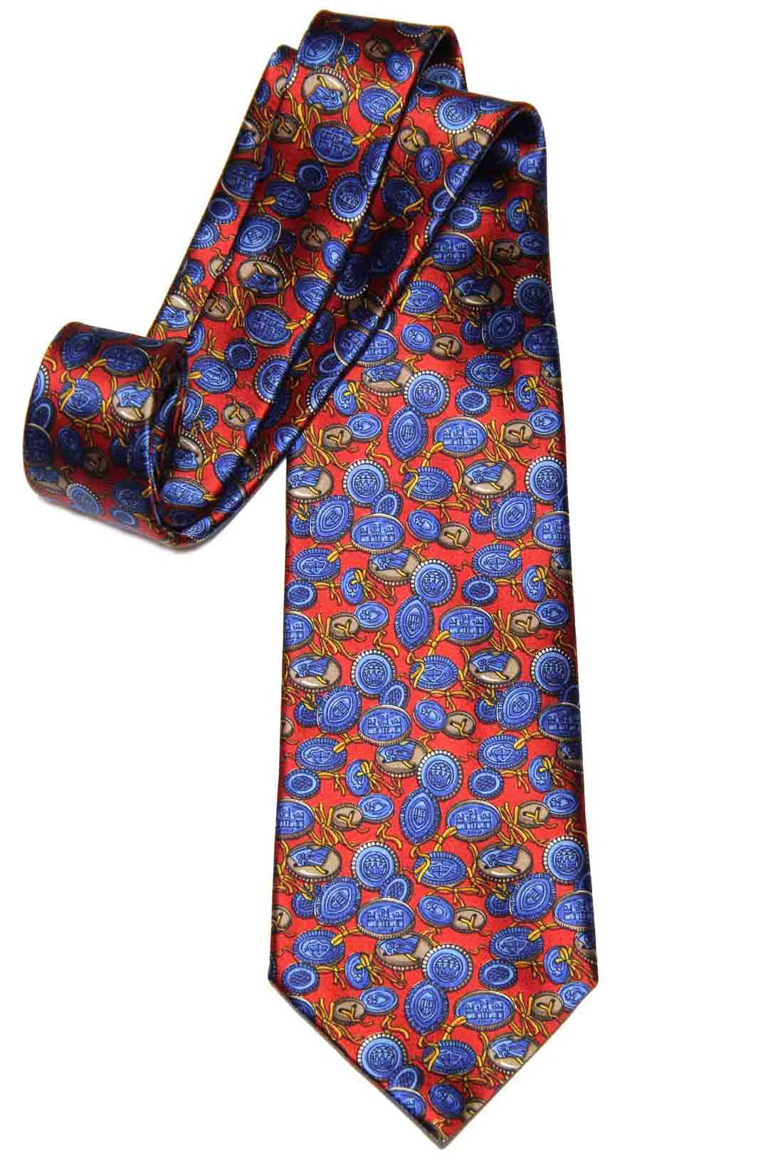 Kieselstein-Cord Italian Silk Tie Buttons Pattern Red Blue Brown Gold Men's