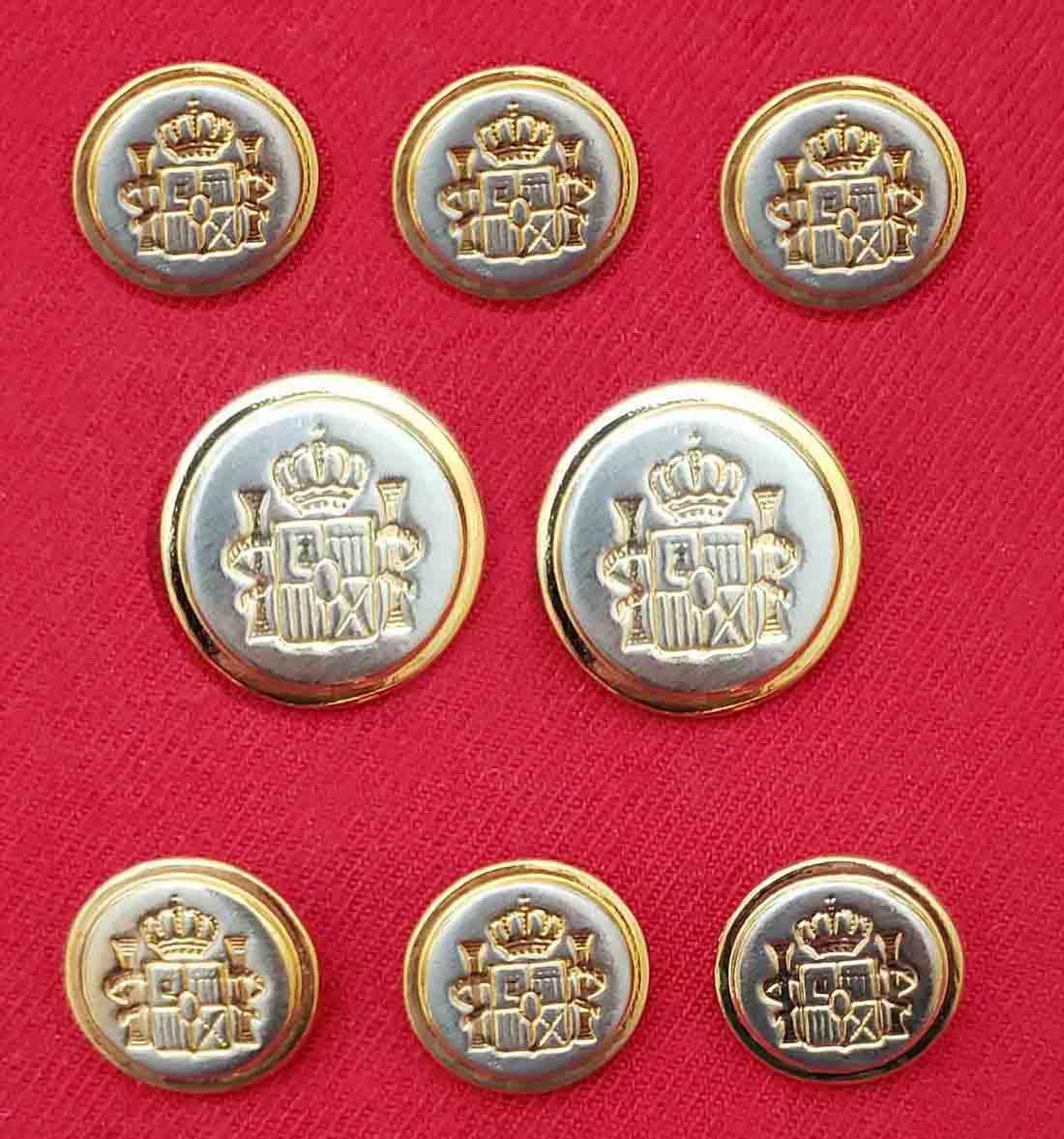 Vintage Mappelli De Milano Blazer Buttons Set Silver Gold Shank Men's