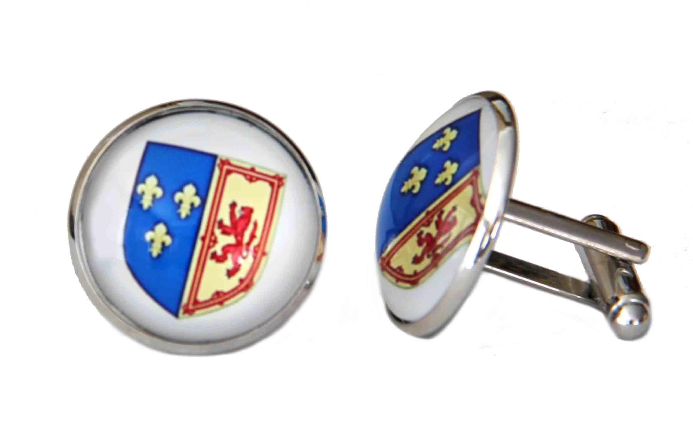 Gascoigne Mary Queen of Scots Shield Cufflinks Silver Metal Alloy Men's