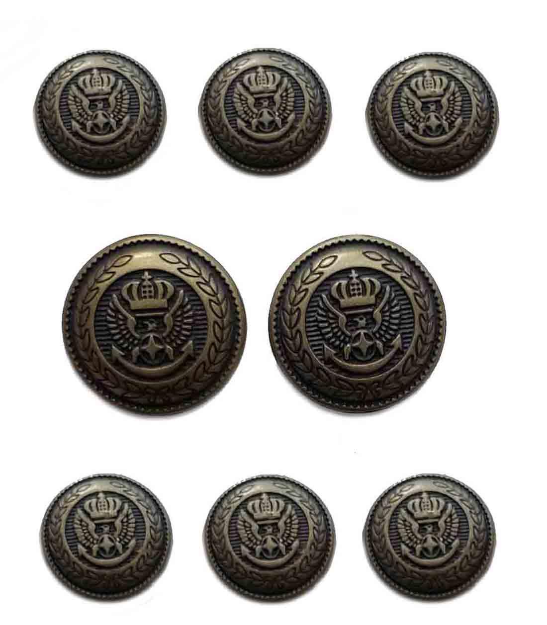 Vintage Meeting Street Brass Buttons Set Gold Brown Eagle Anchor Crown Brass Men's