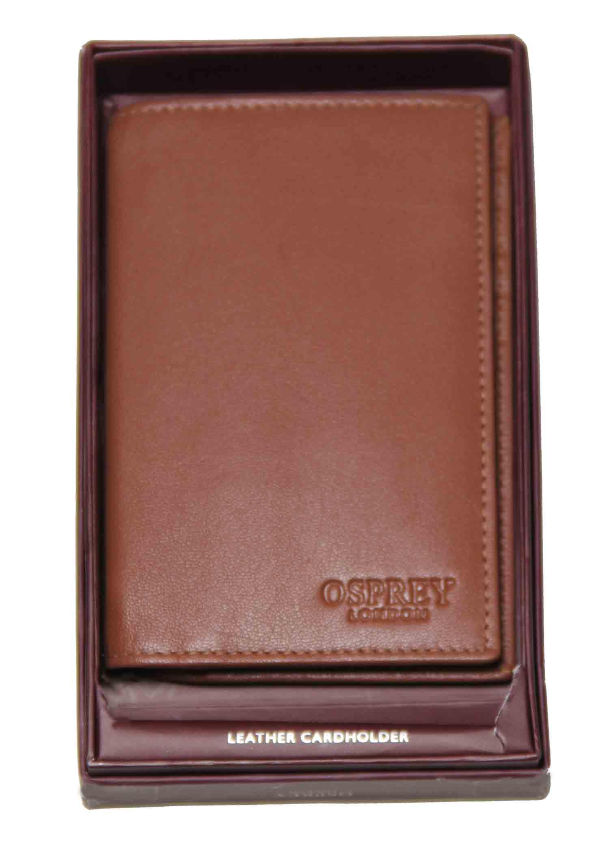 Osprey London Luxury Goat Skin Credit Card Wallet Tan Men's