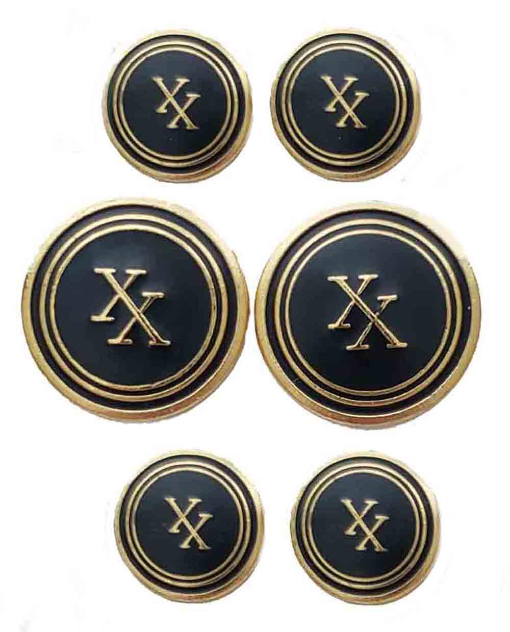 Vintage Oxford for Neiman Marcus Blazer Buttons Brass Enamel Gold Black XX Monogram Men's