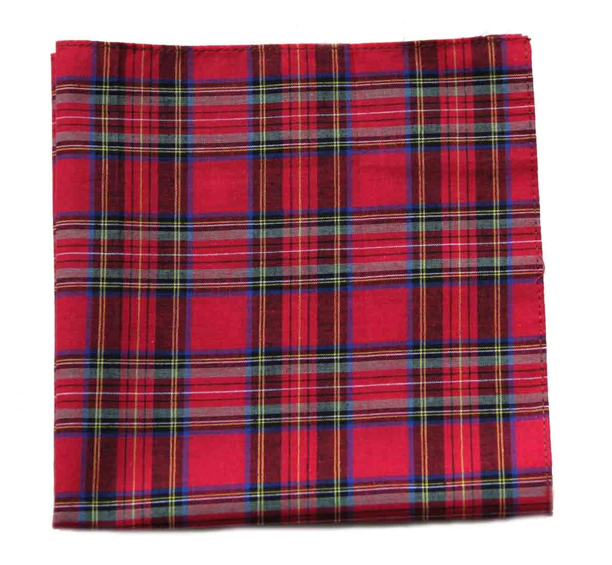 Gascoigne Pocket Square Red Scotch Plaid Cotton Men's