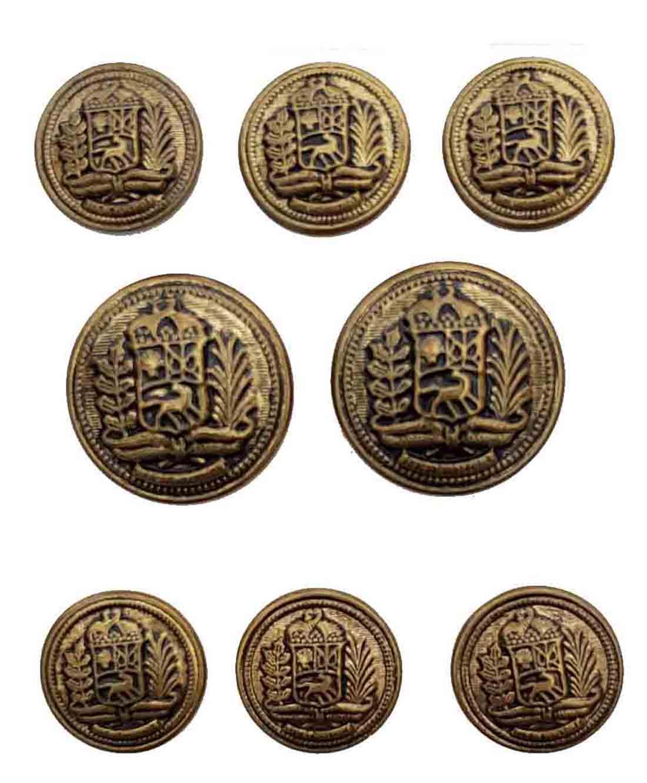 Vintage Reed & James Blazer Buttons Set Antique Gold Brass Shank Men's