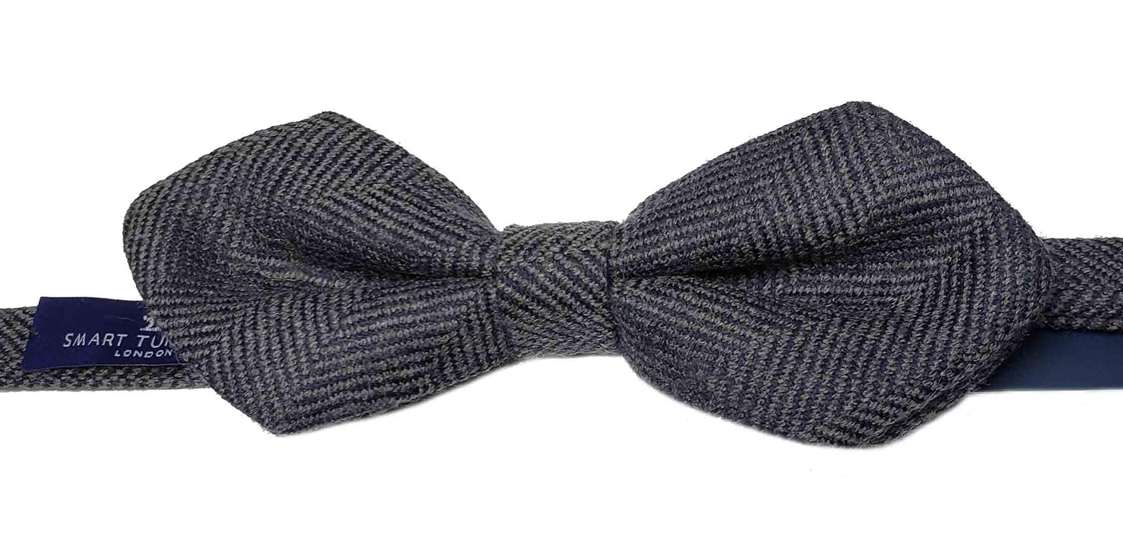 Smart Turnout London Bow Tie Bleecker Gray Wool Herringbone Men's