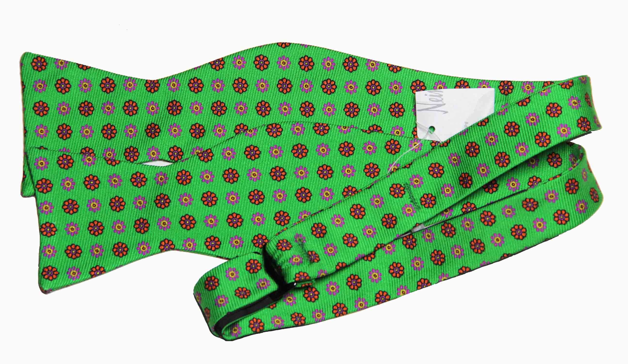 Ted Baker Hand Tailored Silk Bow Tie Floral Green Men's OS