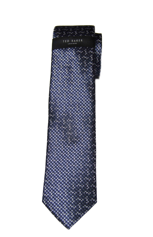 Ted Baker London Mulberry Silk Tie Blue White Circles Men's