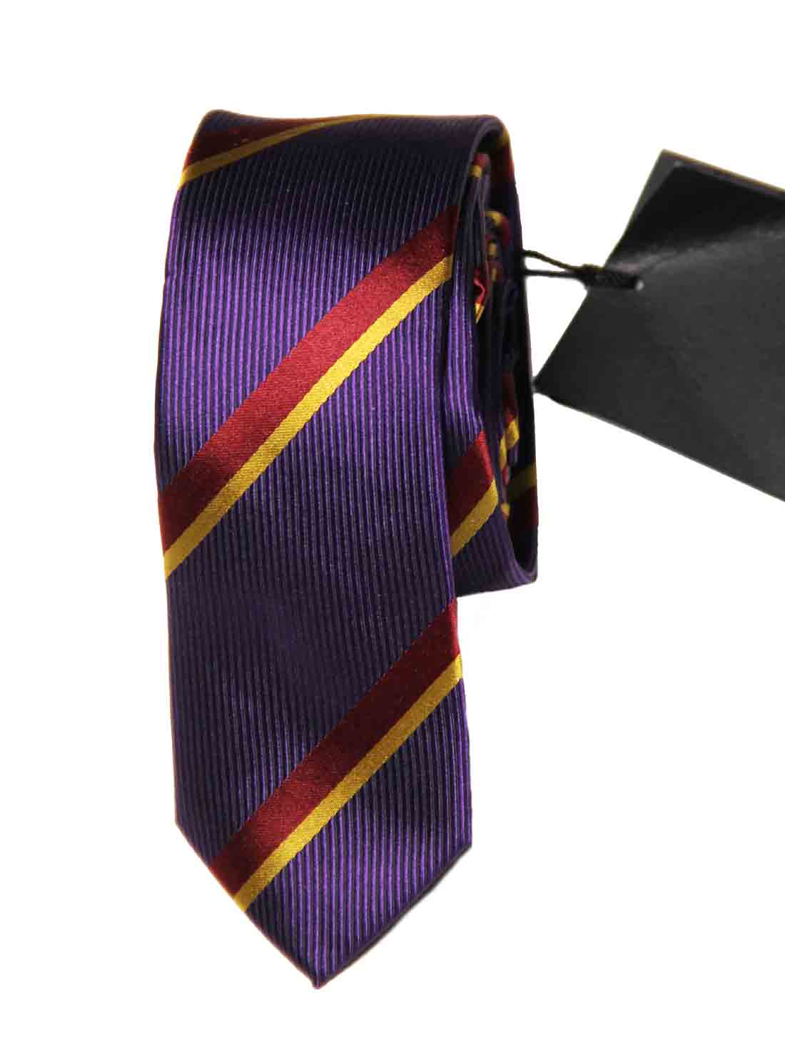 Ted Baker Silk Tie Purple Gold Red Striped Narrow Men's