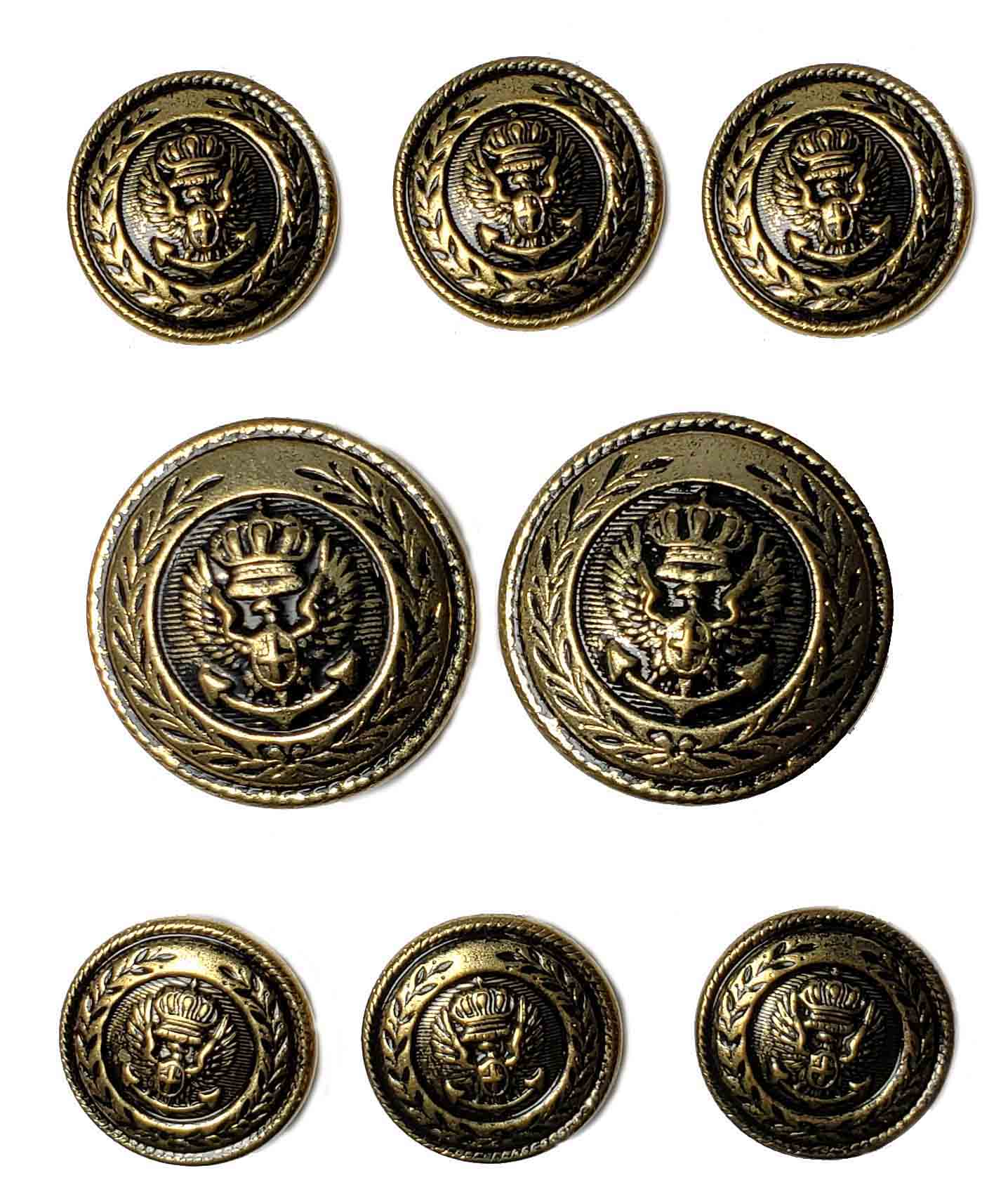Waterbury Blazer Buttons Set Antique Gold Brass Crown Wheat Eagle Shank Men's