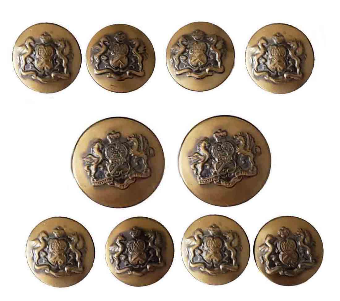 Vintage Waterbury Blazer Buttons Set Gold Brass Winged Horses Crown Shield Men's