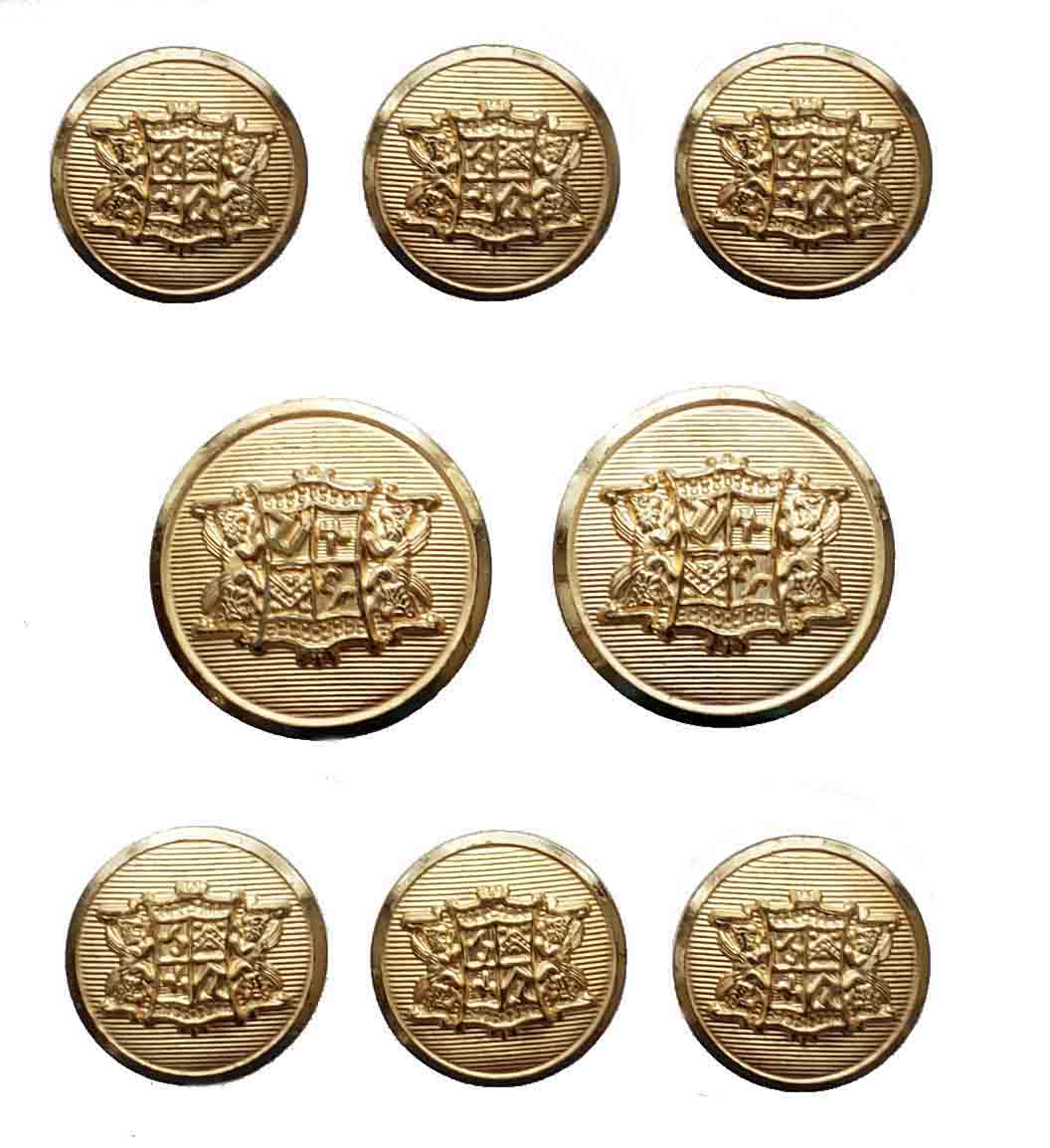 Vintage Waterbury USA Blazer Buttons Set Gold Brass Shank Griffins Shield Men's