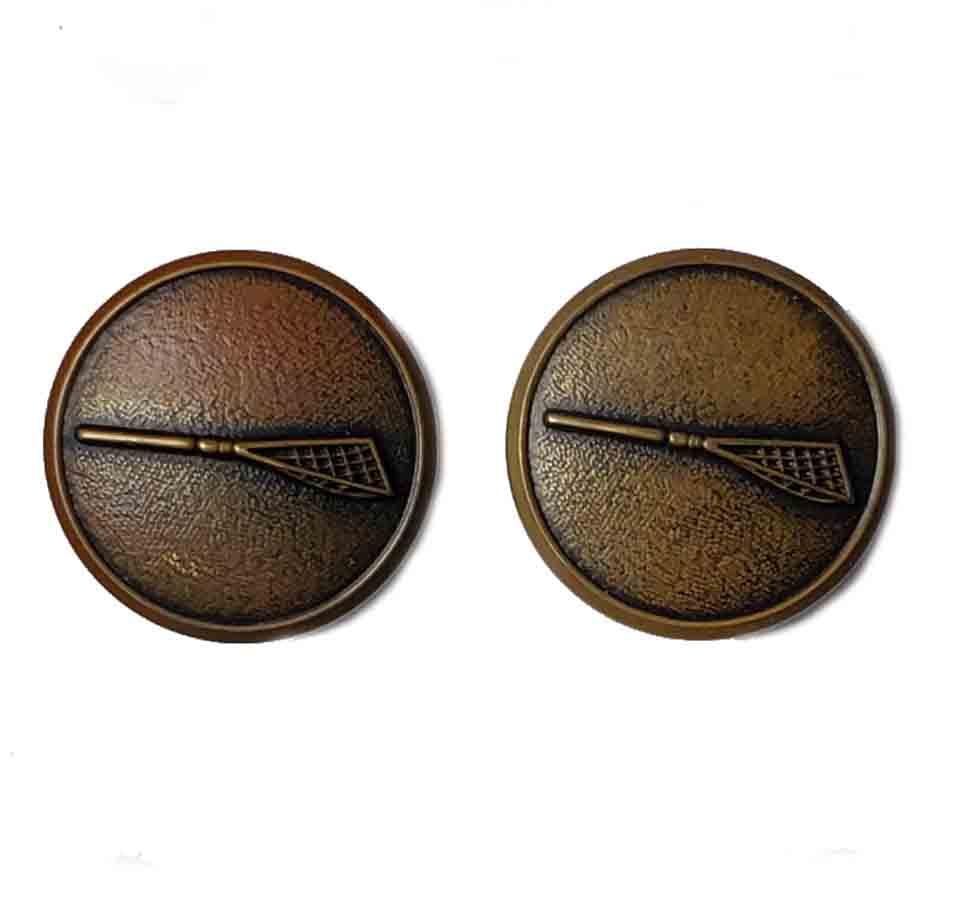Two Vintage Waterbury Blazer Buttons Antique Gold Brass Shank Lacrosse Sticks Men's