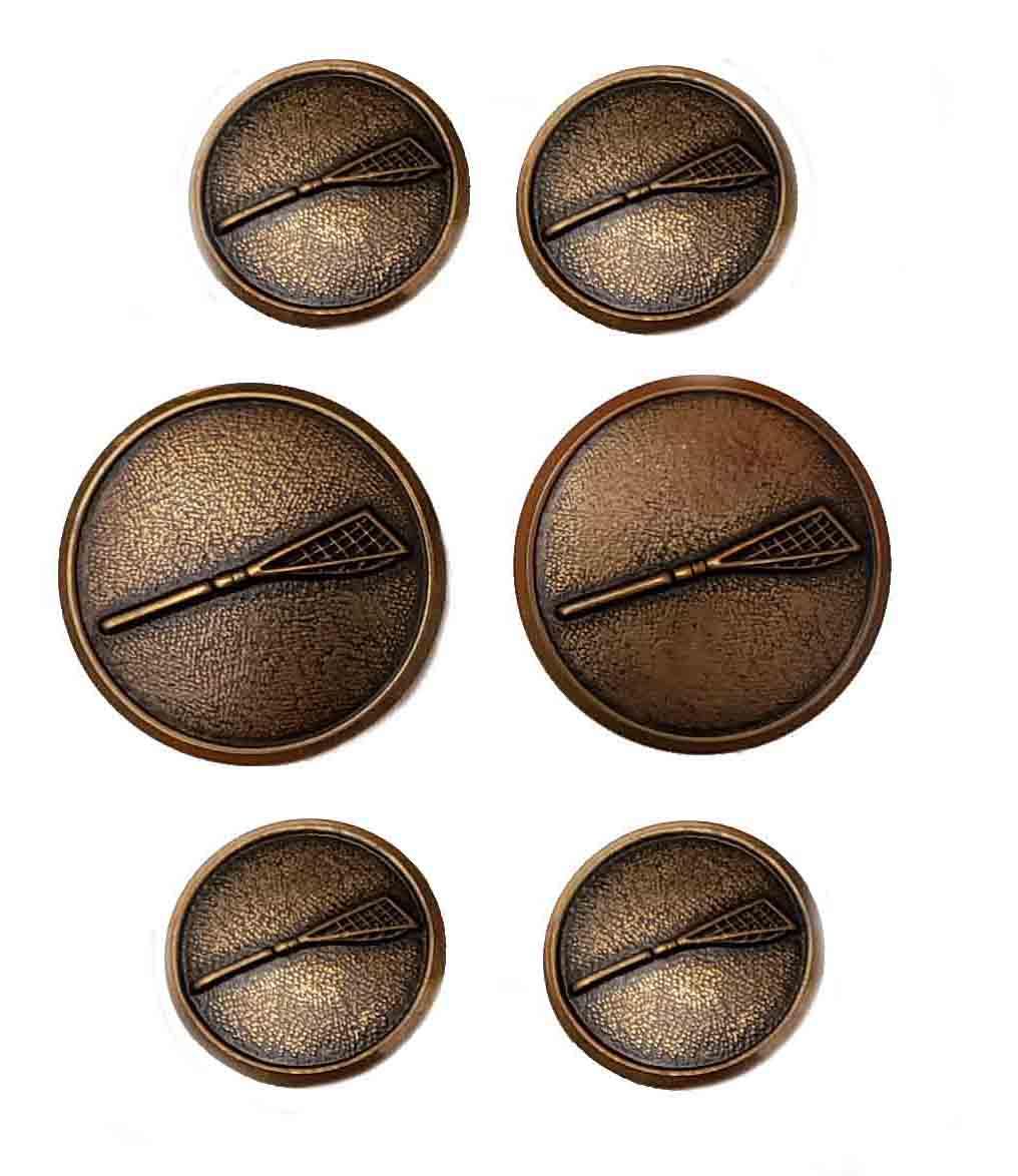 Vintage Waterbury Blazer Buttons Set Antique Gold Brass Shank Lacrosse Sticks Men's