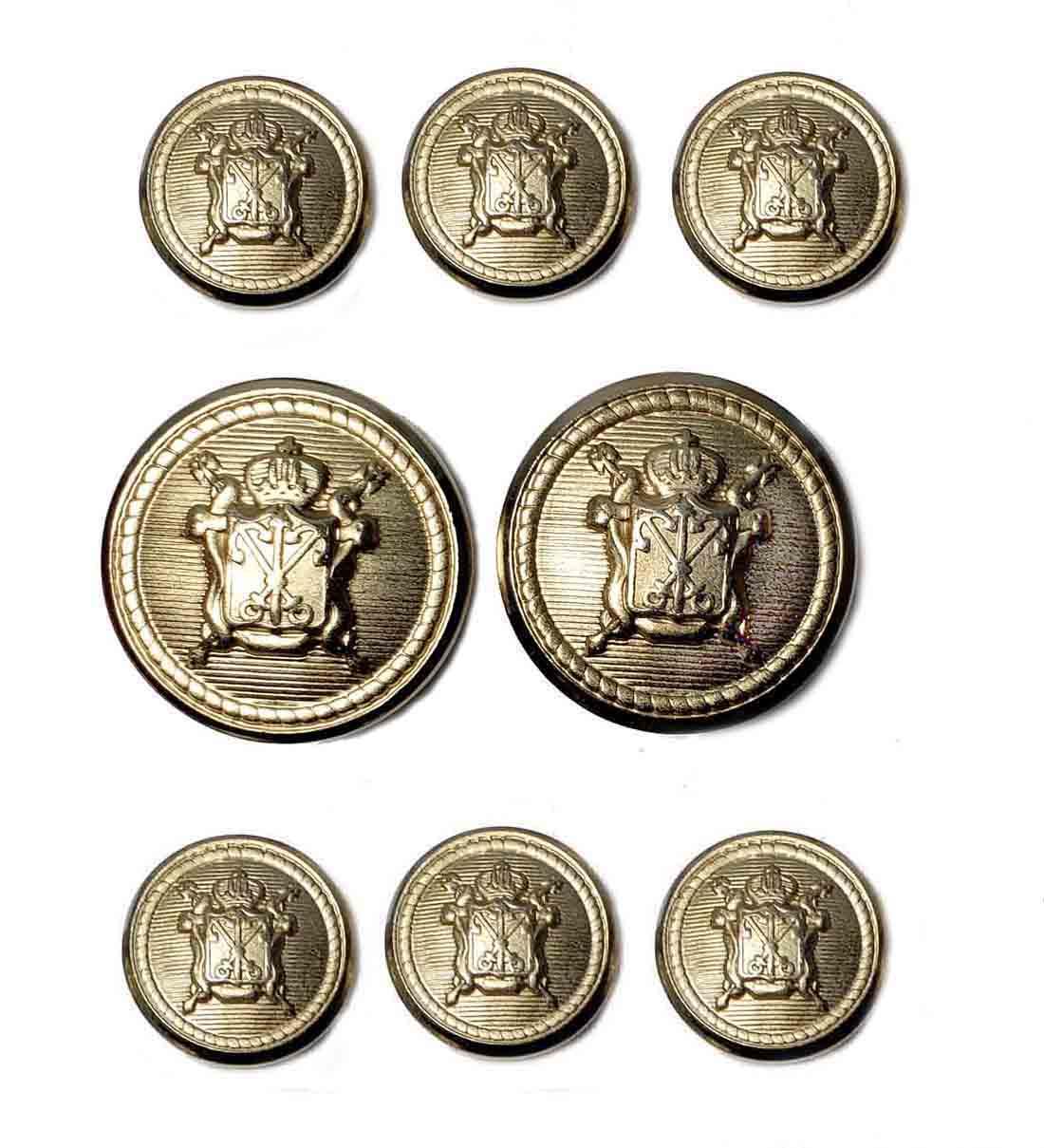 Waterbury Blazer Buttons Set Gold Brass Hook Shank Crown Swords Shield Men's