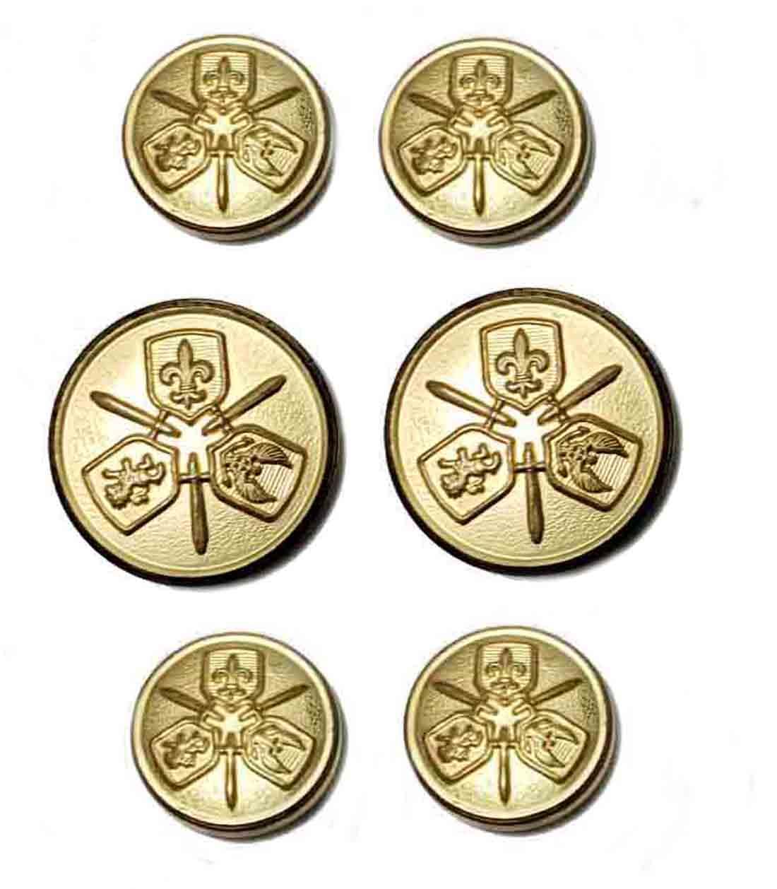 Vintage Waterbury Blazer Buttons Gold Brass Three Shield Pattern Shank Men's