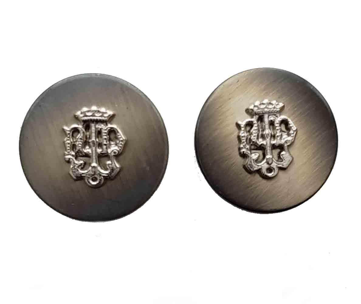 Two Vintage Aquascutum Blazer Buttons Gray Gold Crown Ornate Detailing Metal Shank Men's