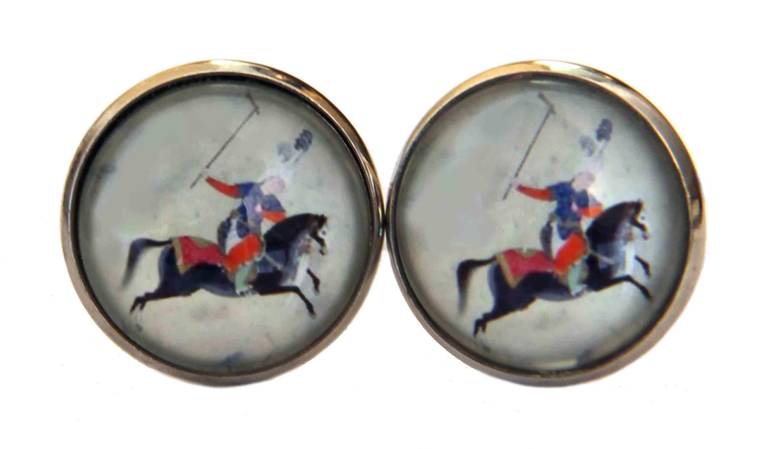 Gascoigne Cufflinks Ancient Polo Player Silver Men's