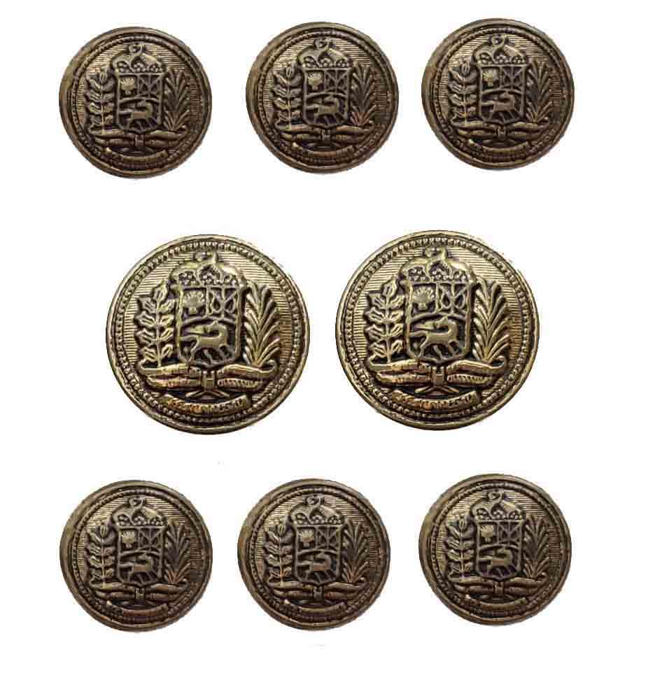 Vintage Blazer Buttons Antique Gold Brass 8 Piece Set Men's