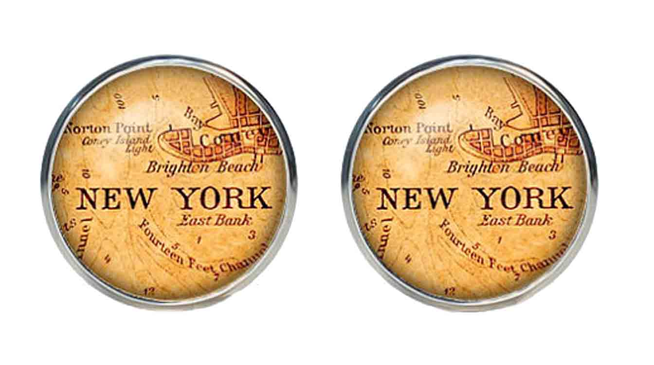 Gascoigne Cufflinks New York Antique City Map Silver Orange Black Men's