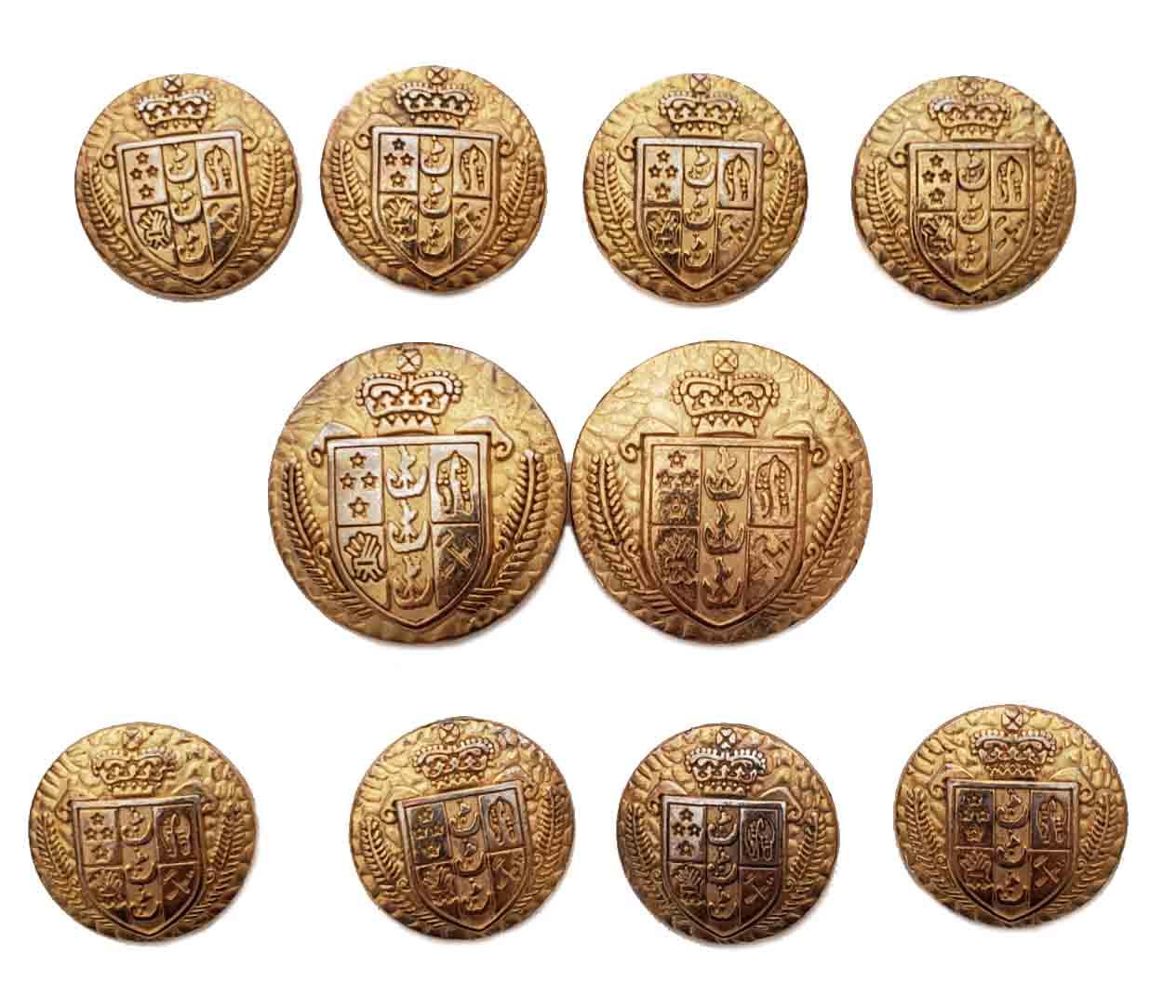 Vintage Aquascutum Blazer Buttons Set Brass Alloy Gold Silver Crown Shield Shank Men's