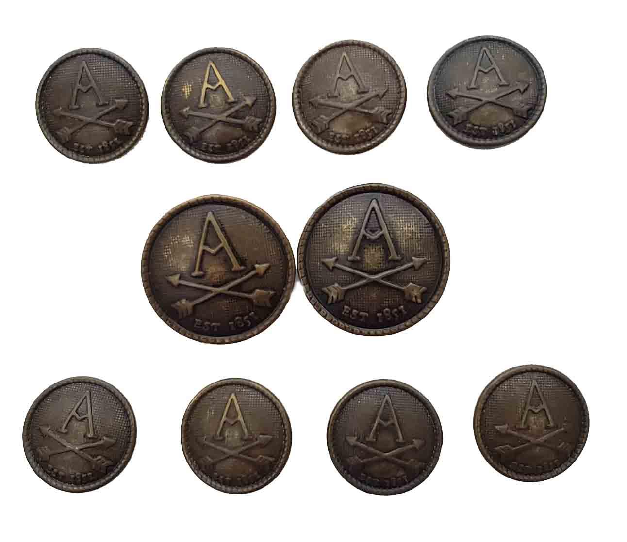 Vintage Arrow Blazer Buttons Antique Gold Brown A Monogram Men's