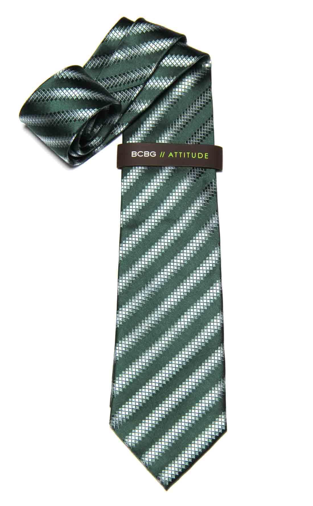 BCBG Tie Green White Gray Silk Striped Men's
