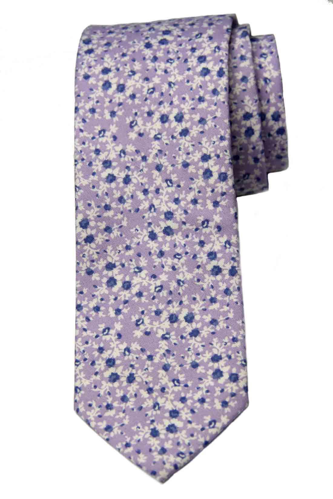 Bar III Cotton Tie Floral Purple White Blue Narrow Men's