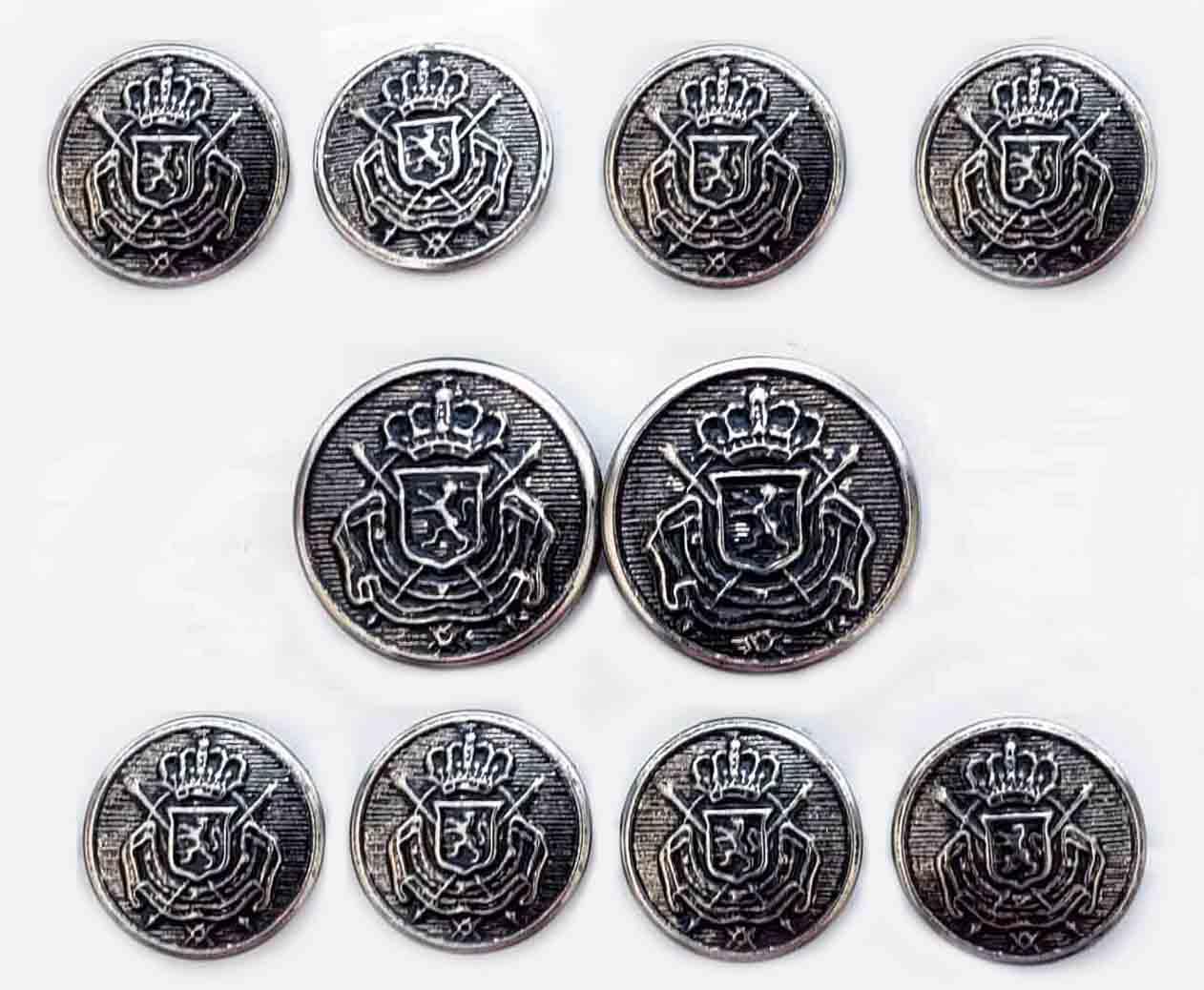 Vintage Meeting Street Blazer Buttons Belgium Crest Heraldic Metal Gray Silver Men's