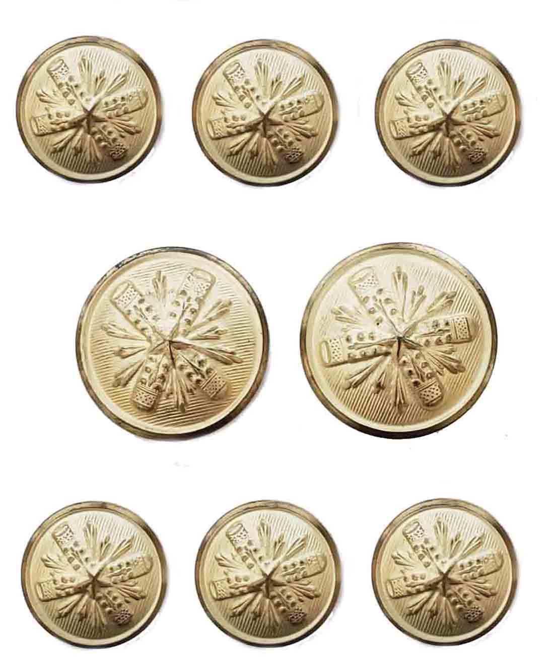 Vintage Bellamin Blazer Buttons Set Gold Brass Shank Starburst Pattern Men's