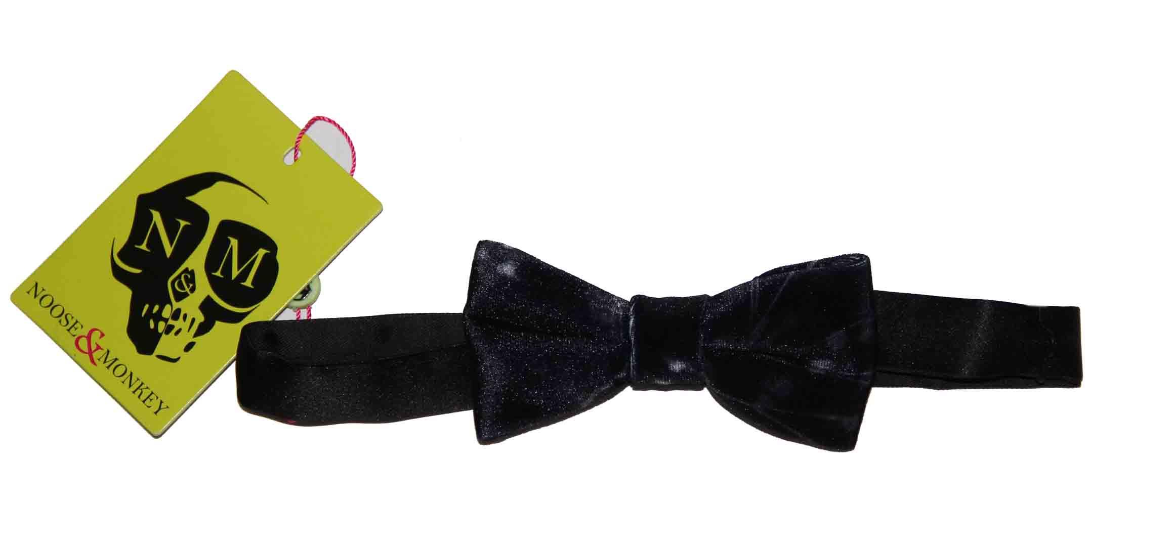 Noose & Monkey Velvet Bow Tie Black Gray Men's OS