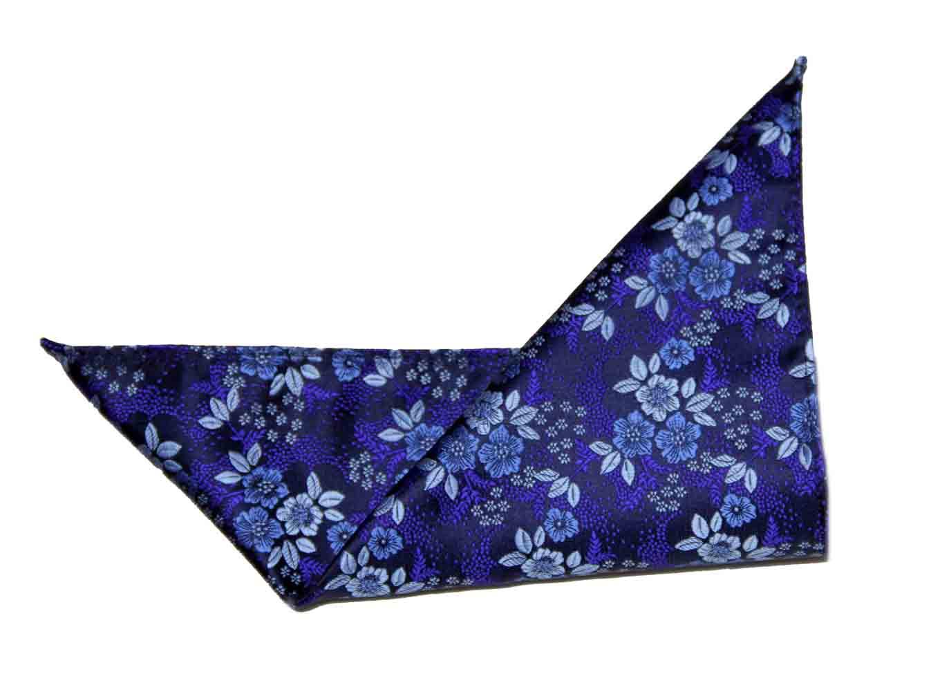 Gascoigne Silk Pocket Square Floral Blue Black Purple Men's