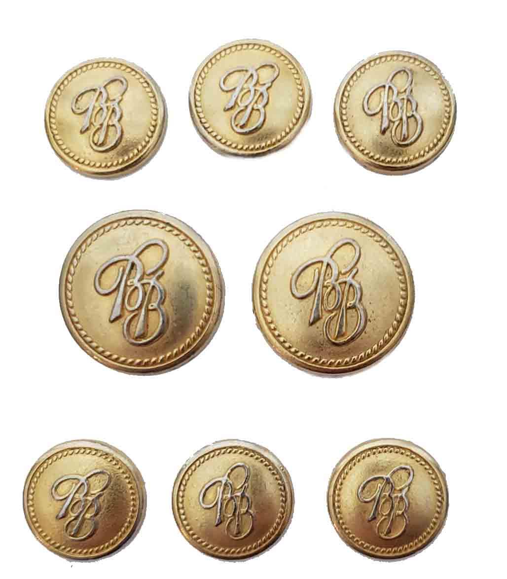 Vintage Brooks Brothers Blazer Buttons Set Gold Brass BB Monogram Shank Men's