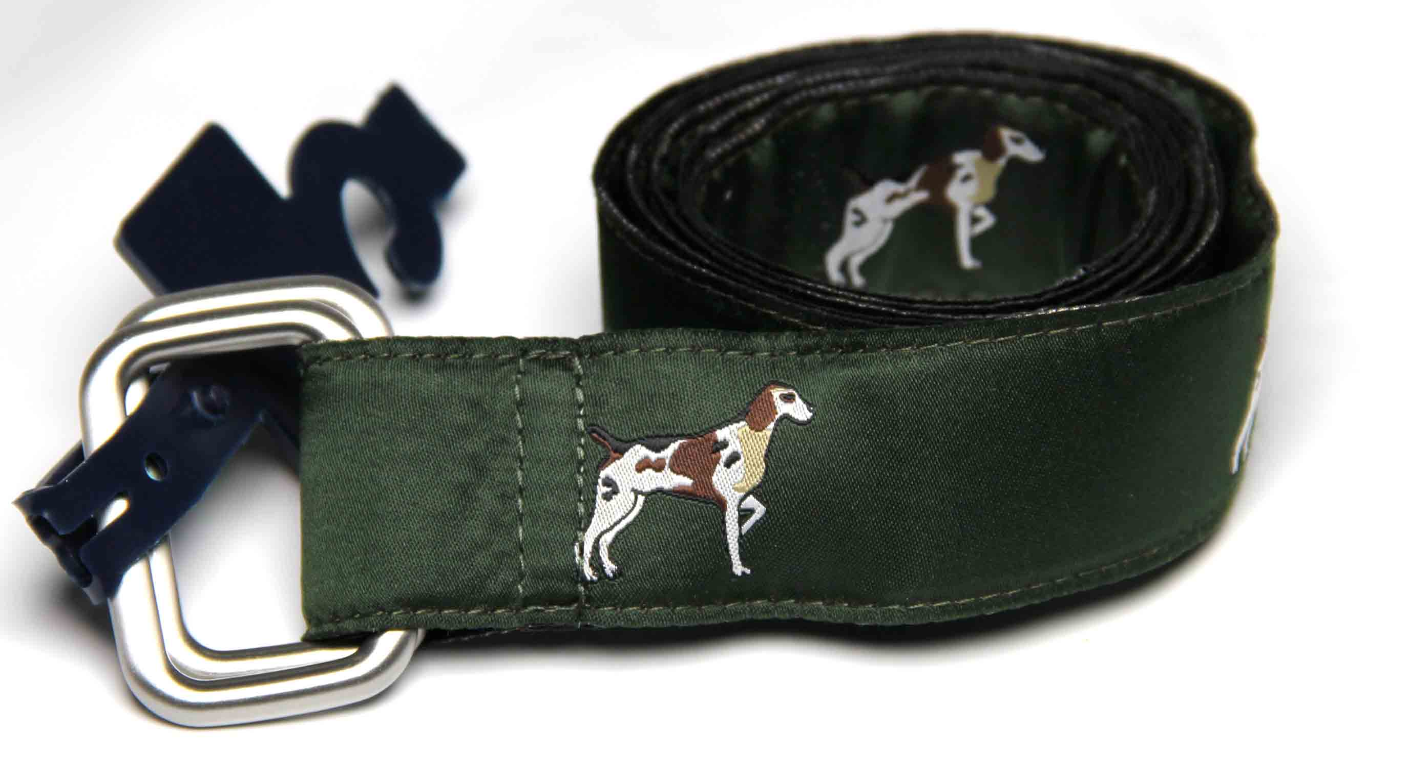 Brooks Brothers D-Ring Fabric Belt Green Hunting Hounds Men's Size Medium