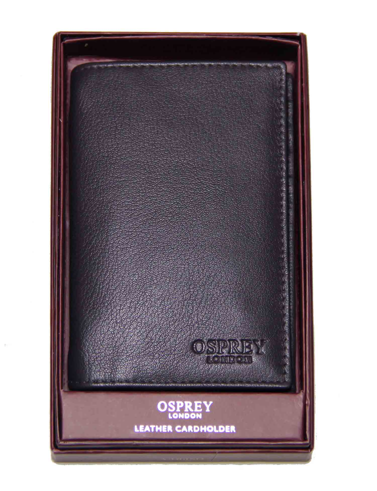 Osprey London Credit Card Wallet Chocolate Brown Goat Skin Leather Men's