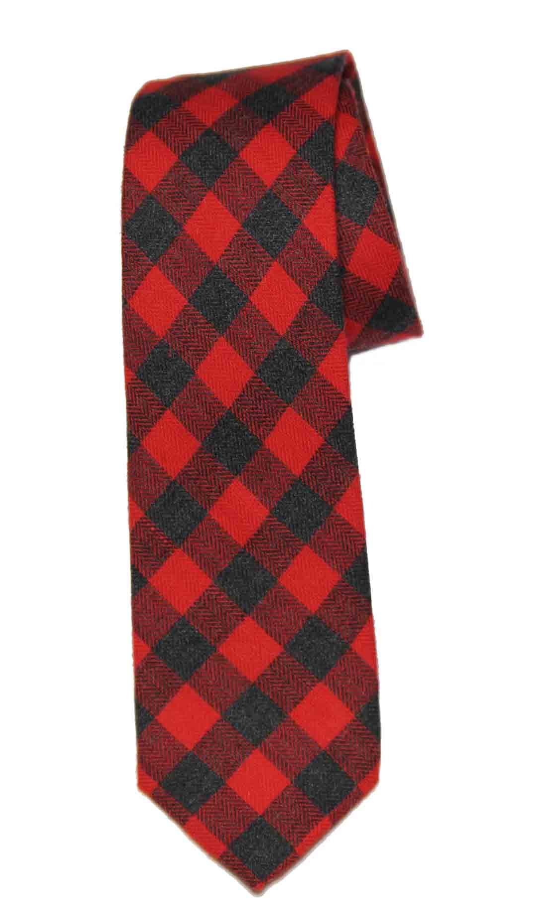 Gascoigne Tie Buffalo Check Pattern Red Black Cotton Men's