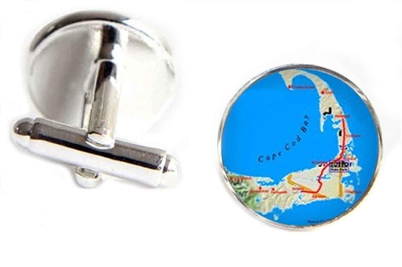 Gascoigne Cape Cod Map Cufflinks Silver Alloy Men's